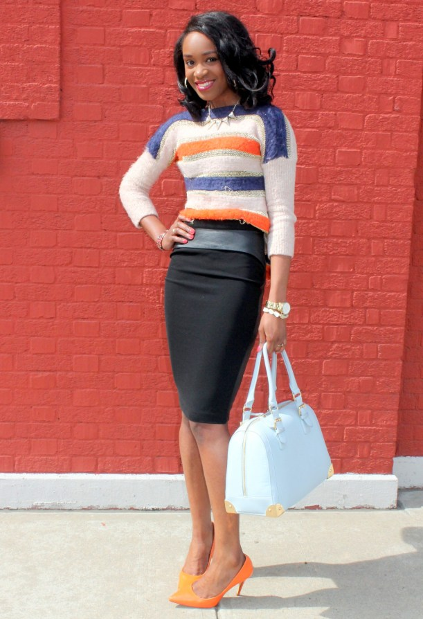 Striped sweater + Pencil skirt with faux leather details (4)