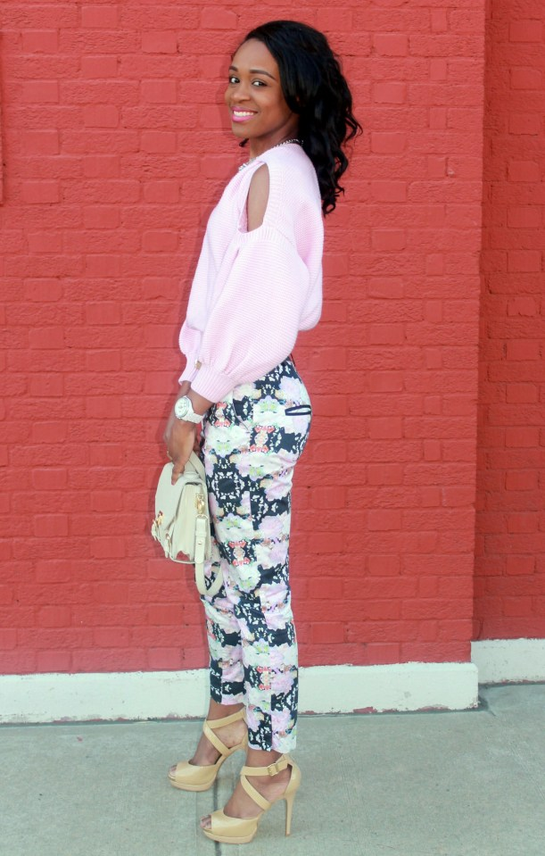 Floral trousers + cut out sweater (4)