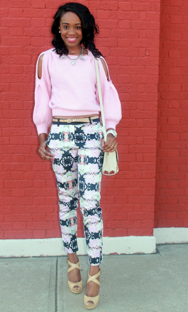 Floral trousers + cut out sweater (8)