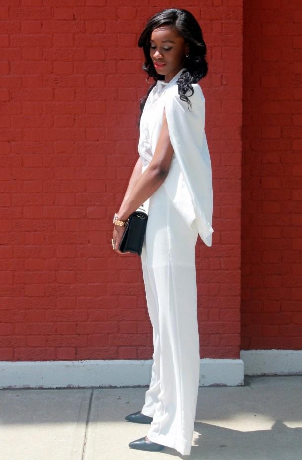 All white wide leg pants + cape blazer (10)
