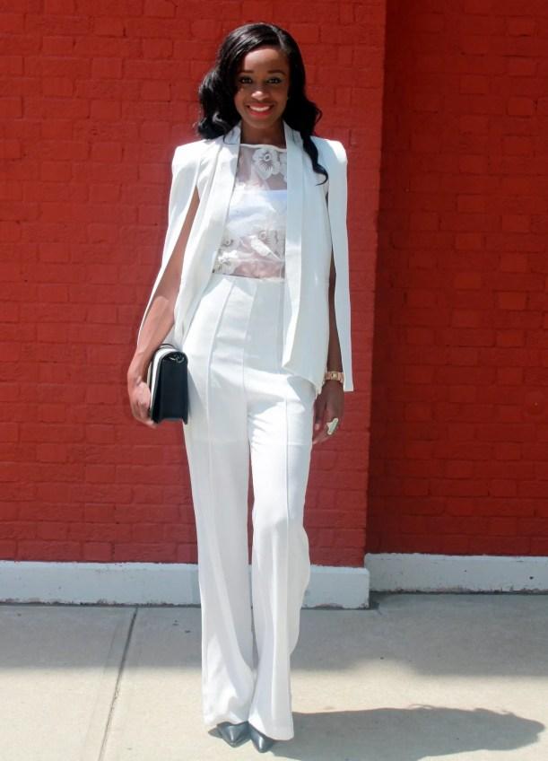 All white wide leg pants + cape blazer   (14)