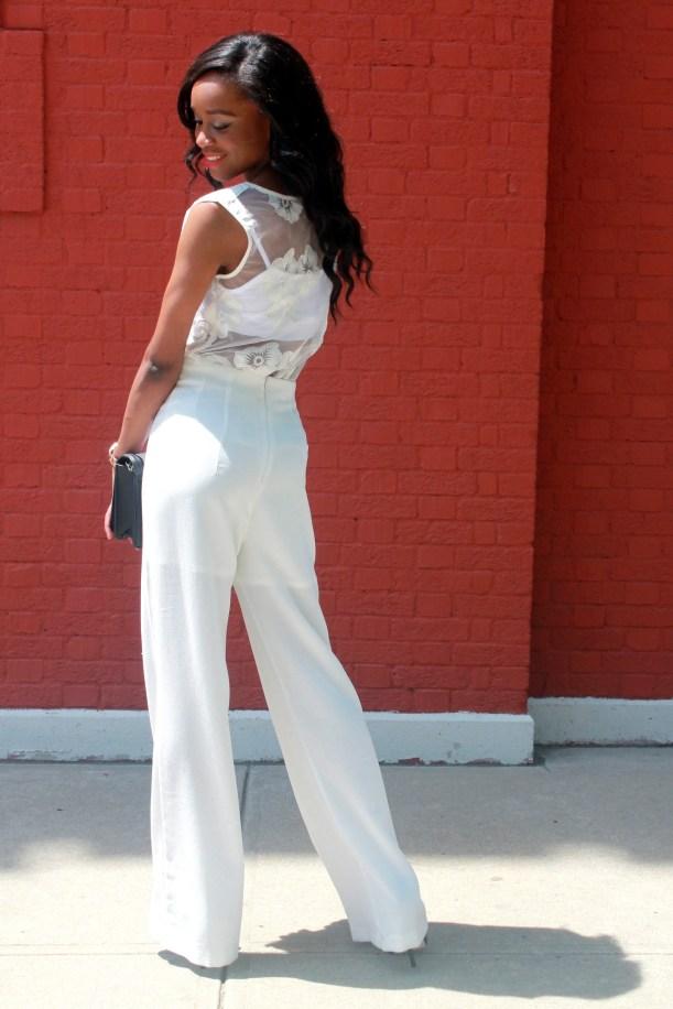 All white wide leg pants + cape blazer (5)