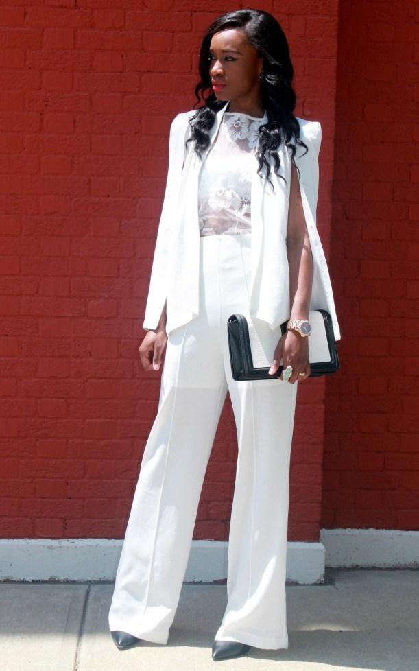 All white wide leg pants + cape blazer (7)