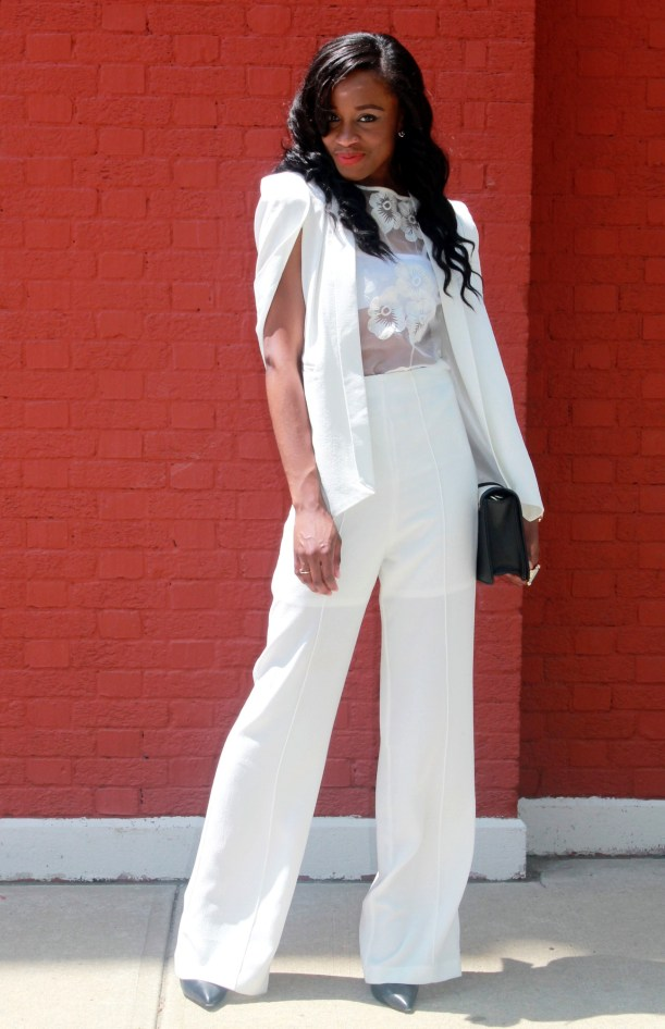 All white wide leg pants + cape blazer (9)