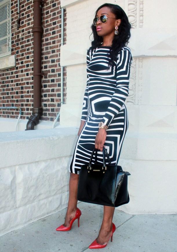 Asos black and white backless midi dress (13)