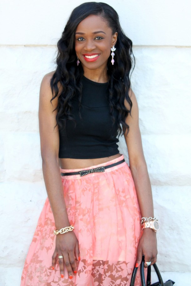 Black crop top + pastel midi skirt (1)