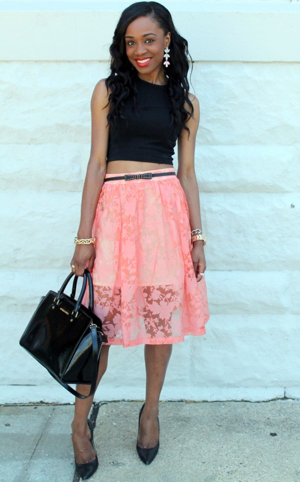 Black crop top + pastel midi skirt (11)