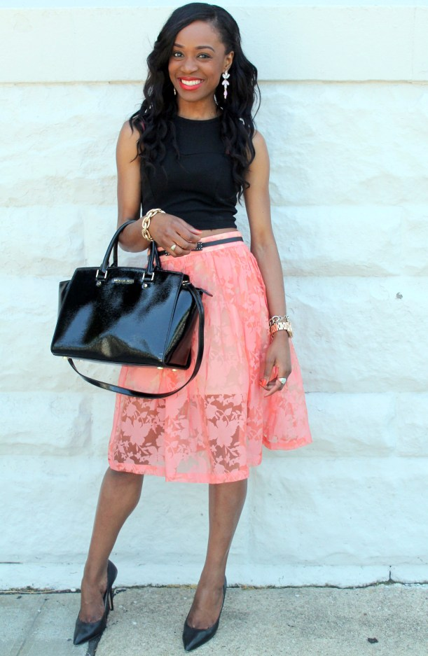 Black crop top + pastel midi skirt (3)