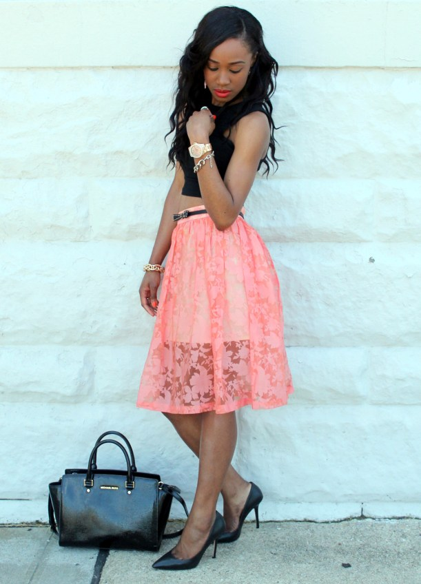 Black crop top + pastel midi skirt (7)