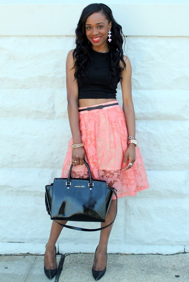 Black crop top + pastel midi skirt (9)