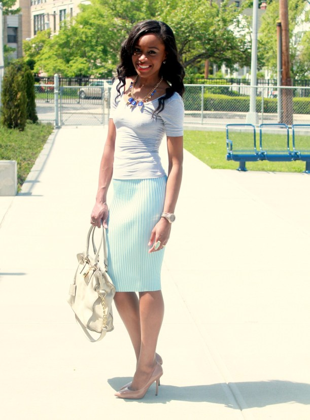 Pastel blue pleated skirt + gray open back top  (5)