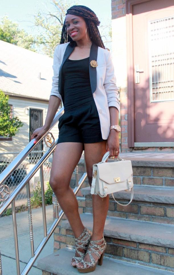 Black JCrew shorts + H&M oversized blazer (11)