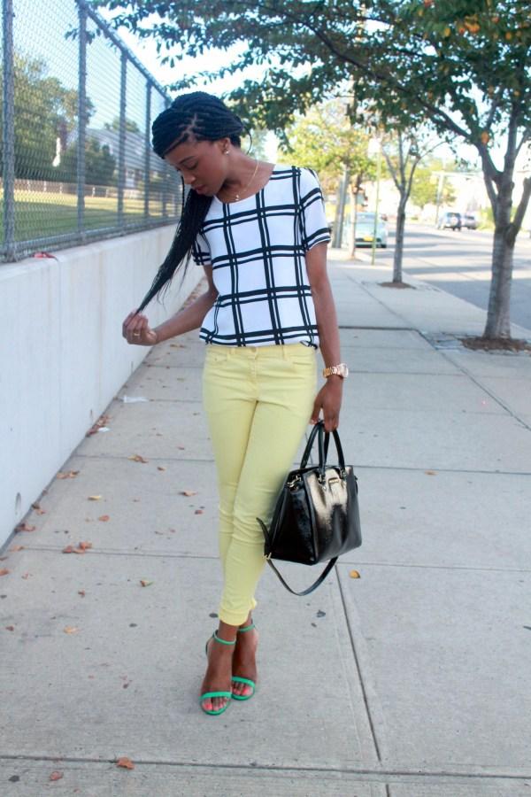 Checked shirt + yellow denim (2)