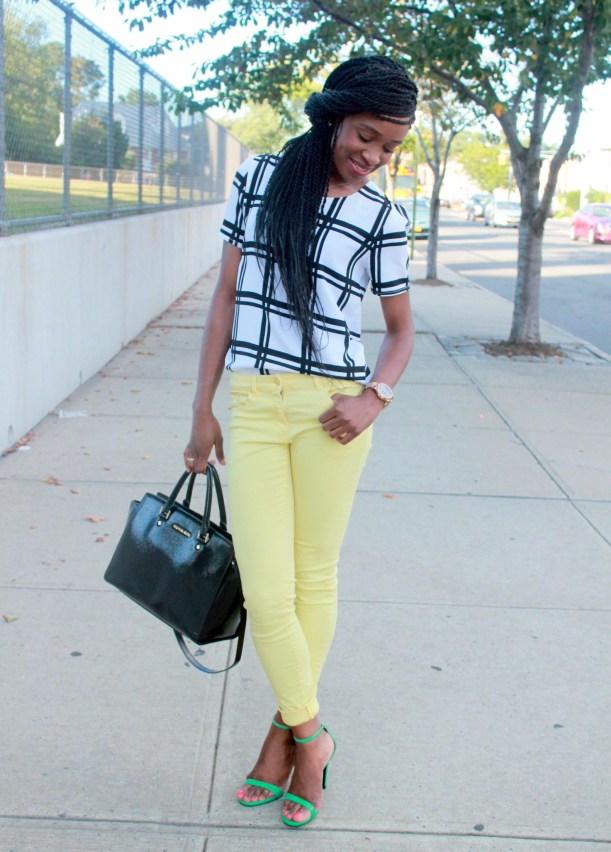 Checked shirt + yellow denim (5)