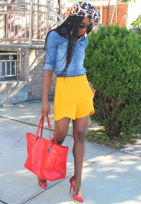 Zara shorts + chambray shirt + headwrap (10)