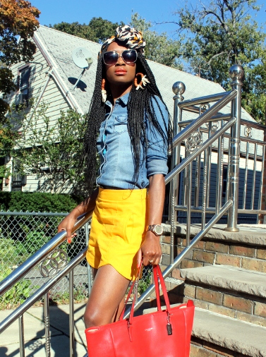 Zara shorts + chambray shirt + headwrap (4)