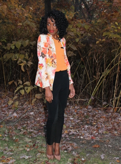 Floral blazer + high waisted trousers (12)