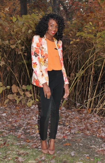 Floral blazer + high waisted trousers (3)