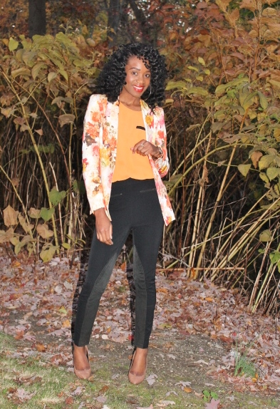 Floral blazer + high waisted trousers (4)