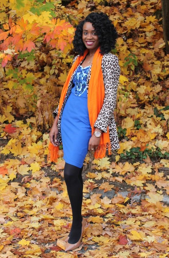 Leopard coat & blue midi dress (3)