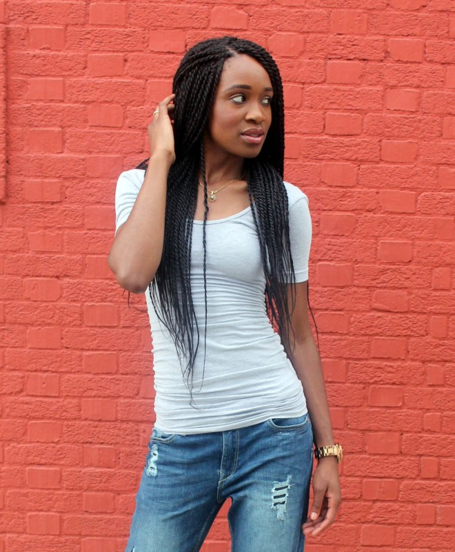 Distressed bf jeans  + red heels (5)