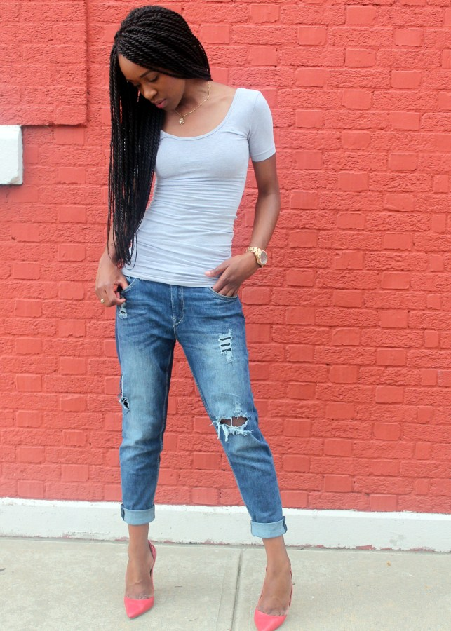 Distressed bf jeans  + red heels (7)