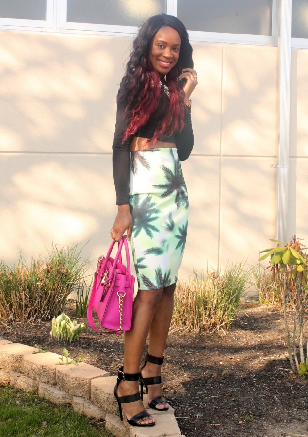 Printed pencil skirt & black high neck crop top (2)