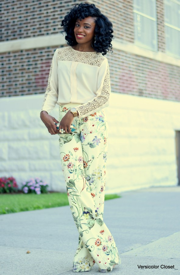 Wide leg trousers + chiffon blouse