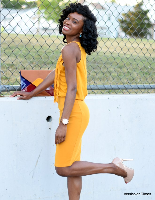 Mustard pencil skirt + fringe top (2)