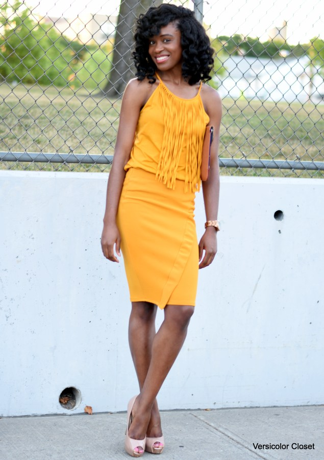 Mustard pencil skirt + fringe top (4)