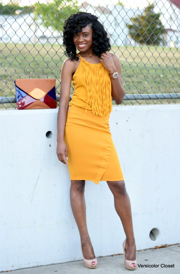 Mustard pencil skirt + fringe top (6)
