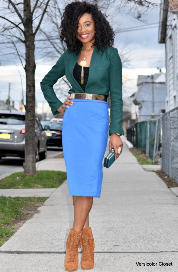Blue pencil skirt & green blazer (2)