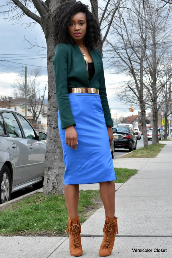 Blue pencil skirt & green blazer (4)
