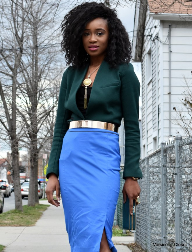 Blue pencil skirt & green blazer (5)