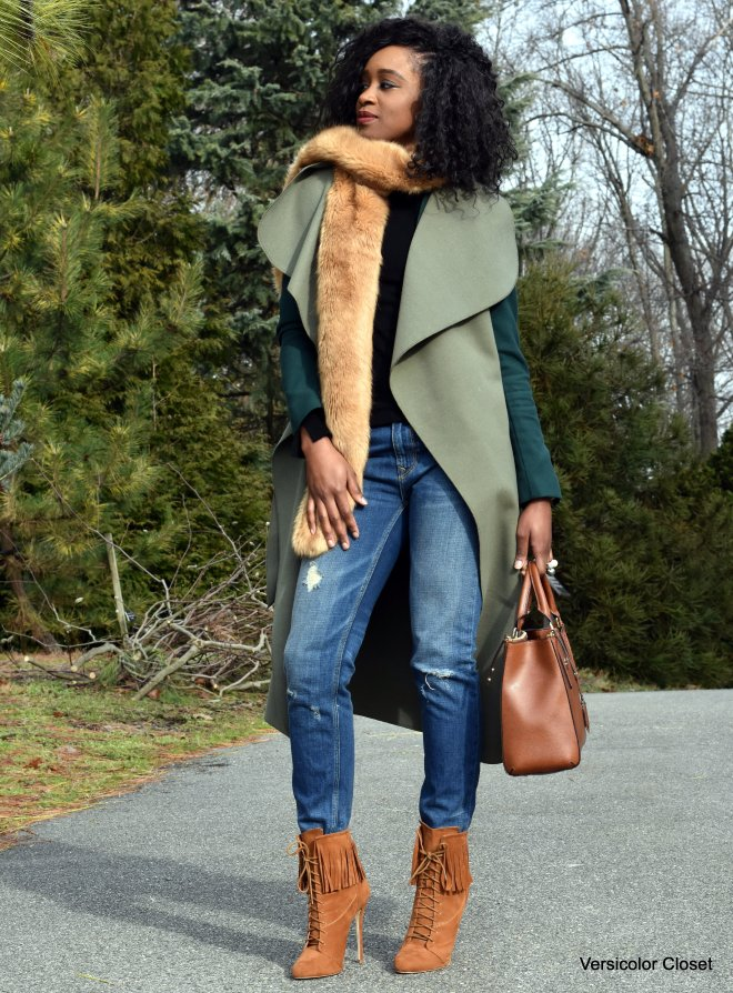 Distressed denim, waterfall coat, camel booties and purse (3)