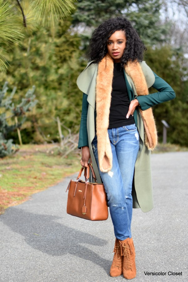 Distressed denim, waterfall coat, camel booties and purse (6)
