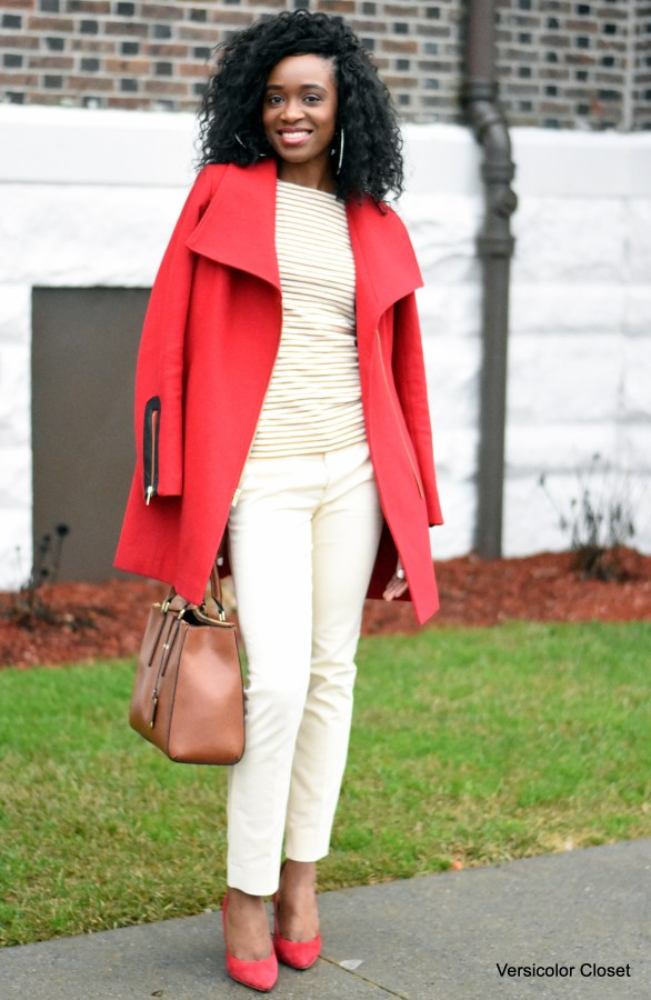 Jcrew top + Red Rachel Roy coat (1)
