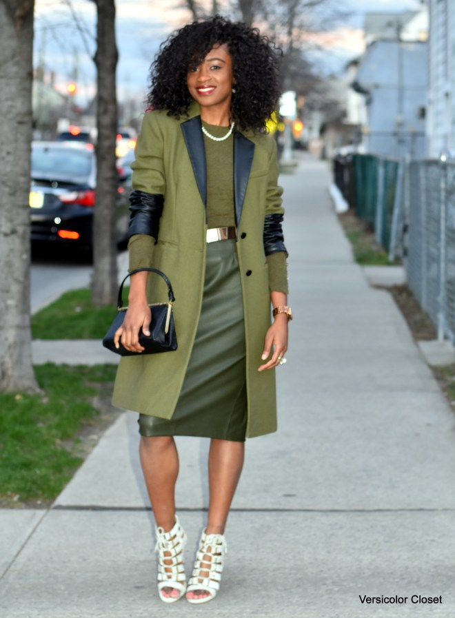 Olive pleather skirt + olive coat (1)