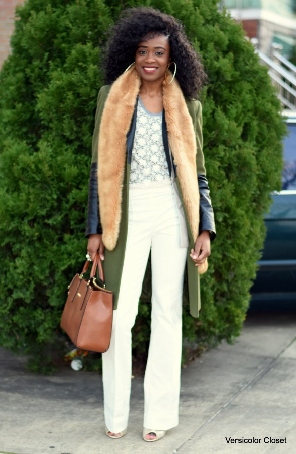 White trousers + faux fur stole (4)