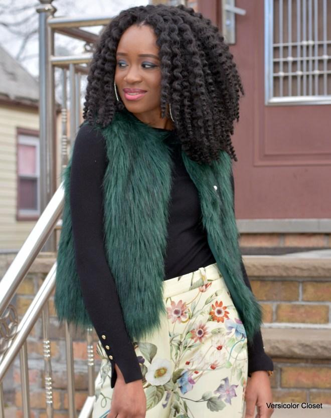 Wide leg trousers & faux fur vest (5)