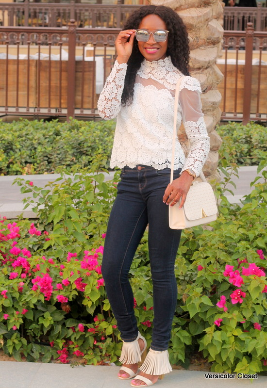 Chicwish Lace top  + Target fringe sandals (3)