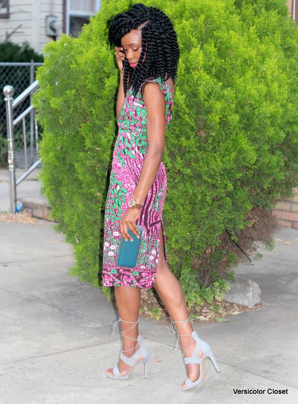 Ankara dress + gray laceup heels (5)