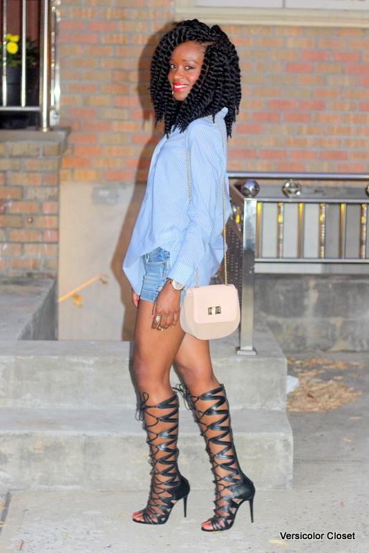 Denim shorts & gladiator heels (2)