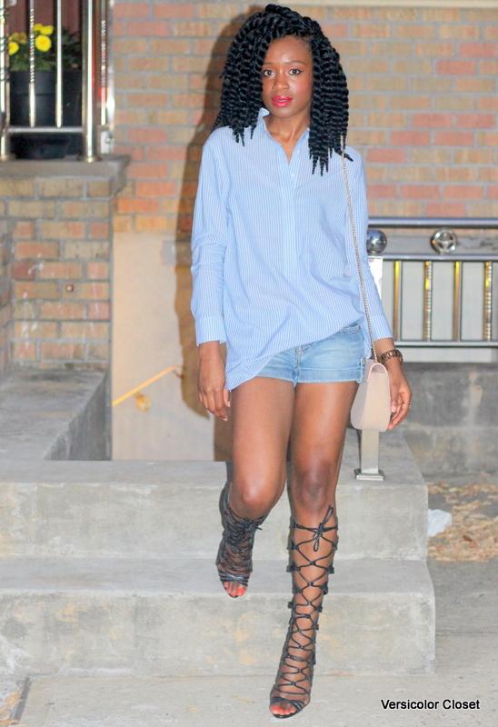 Denim shorts & gladiator heels (5)