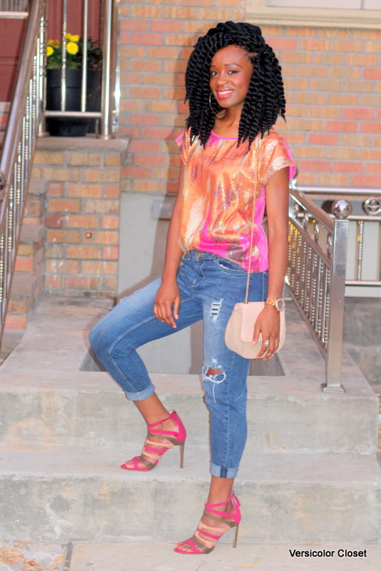 Styling ripped jeans, sequins top & caged heels (2)