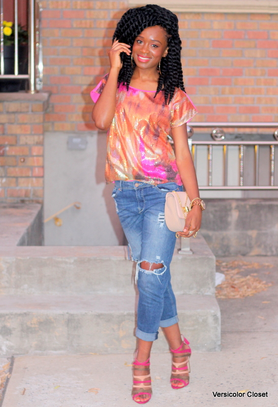 Styling ripped jeans, sequins top & caged heels (4)