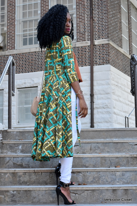 Ankara duster + white skinnies (3)