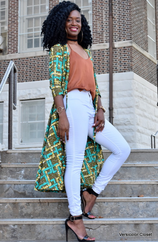 Ankara duster + white skinnies (4)