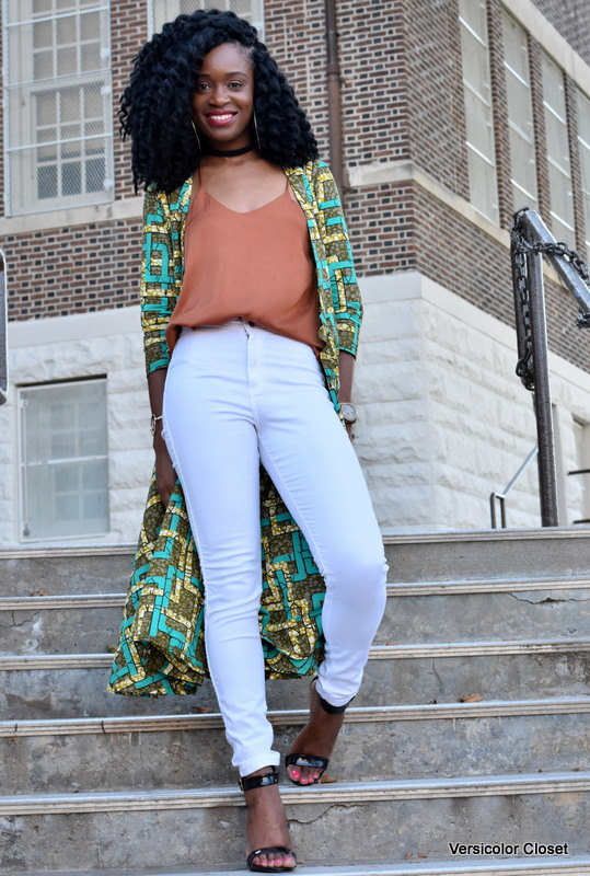 Ankara duster + white skinnies (5)