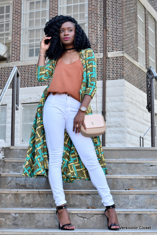 Ankara duster + white skinnies (6)